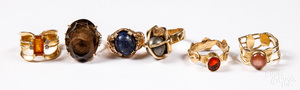 Six 14K gold and gemstone rings