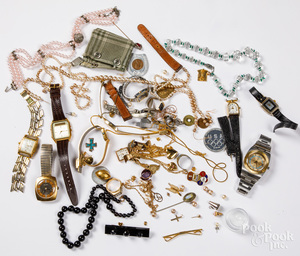 Costume jewelry, wrist watches, etc.