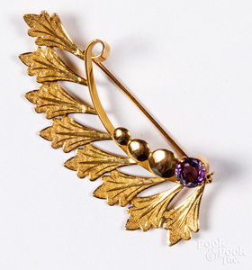 14K gold and gemstone brooch