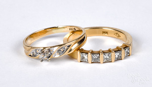 Two 14K gold and diamond rings