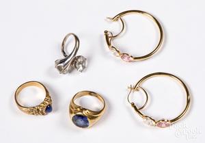 Three 14K gold and gemstone rings, etc.