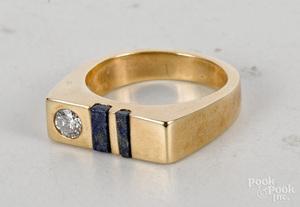 14K yellow gold diamond and lapis lazuli ring