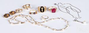 14K gold, precious and semi precious stone jewelr
