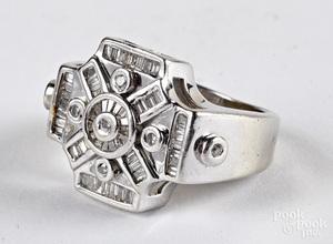 Men's 14K white gold and diamond cluster ring
