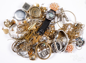 Group of costume jewelry and wristwatches.
