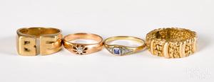 Four 14K gold, diamond and gemstone rings