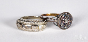 Two 10K and 14K gold and diamond rings