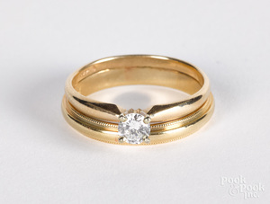 14K gold and diamond wedding band set
