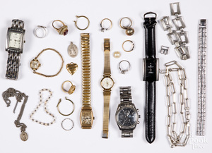Costume and silver jewelry, watches, etc.