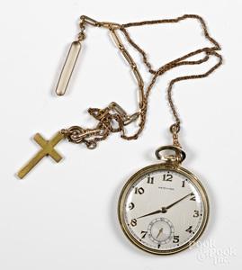 Hamilton 14K gold pocket watch and fob.