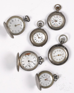 Six silver ladies pocket watches.