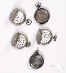 Five silver ladies pocket watches.
