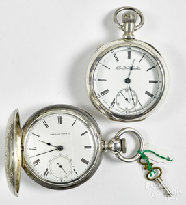 Two coin silver pocket watches