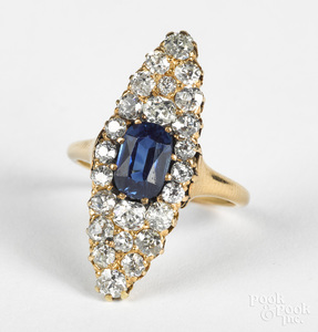 14K gold diamond and sapphire ring