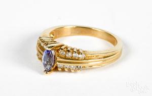 14K gold, diamond and tanzanite ring