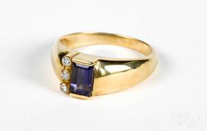 14K gold diamond and iolite ring