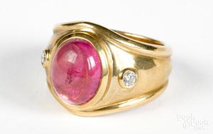 14K gold diamond and pink tourmaline ring