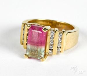 14K gold diamond and watermelon tourmaline ring
