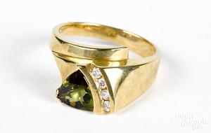 14K gold diamond and green gemstone ring