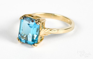 14K gold and blue topaz ring
