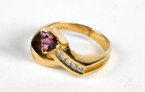 14K gold diamond and rhodolite ring