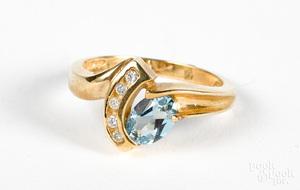 14K gold diamond and blue topaz ring