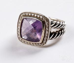 David Yurman silver diamond and amethyst ring