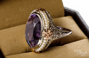 14K two tone gold, seed pearl and amethyst ring