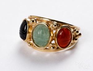 14K gold scarab ring