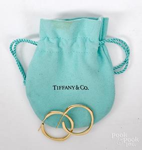 Pair of Tiffany 18K yellow gold hoop earrings