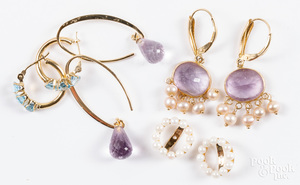 Four pairs of 14K gold, gemstone and pearl earrings