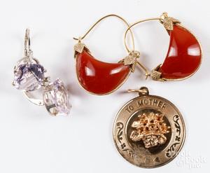 14K gold pendant, etc.