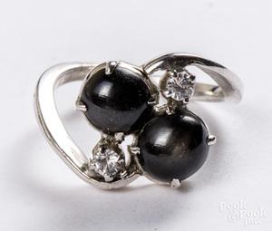 Platinum, diamond and onyx ring