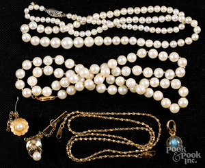 Two pearl necklaces with gold clasps, etc.