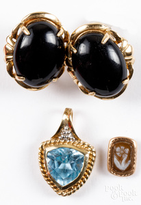 Pair of 10K gold and onyx earrings, etc.