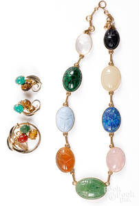14K gold scarab necklace, etc.