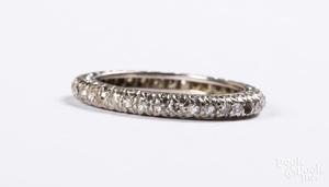14K white gold and diamond eternity band