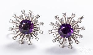14K gold, diamond & amethyst earrings, etc.