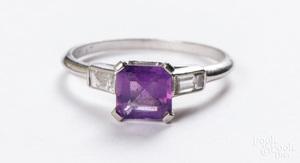 Platinum diamond and amethyst ring