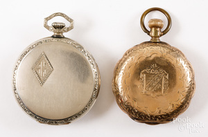 Two gold filled pocket watches, Elgin and Illinois