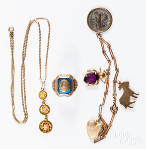 10K gold and stone jewelry, etc.