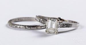 Platinum and diamond wedding band set