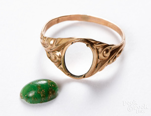14K gold ring, 1.2 dwt and a loose gemstone