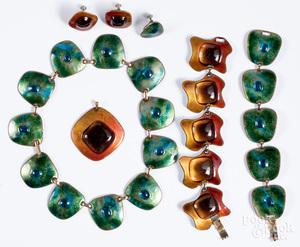 Group of Kay Denning enamel jewelry.