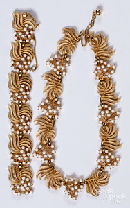 Trifari gold plated and enamel necklace