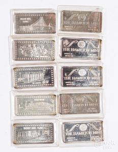 Ten Hamilton Mint 1 ozt. fine silver ingots.