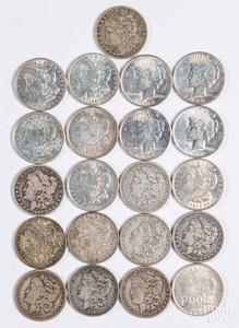 Seventeen Morgan silver dollars, etc.