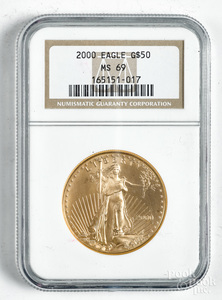 Liberty eagle 1 ozt. fine gold coin, NGC MS 69.