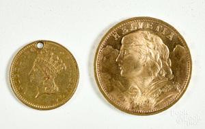 Helvetia 20 franc gold coin, etc.