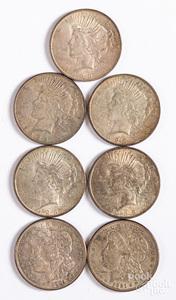 Five Peace silver dollars, etc.